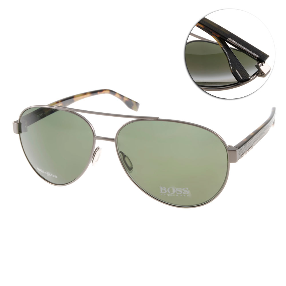 HUGO BOSS偏光太陽眼鏡 個性飛官款/銀#HB0648FS OJOUC