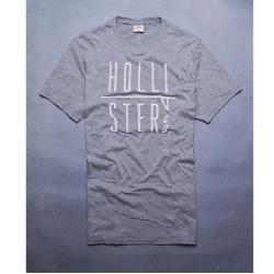 HOLLISTER Co. LOGO刺繡休閒圓領短袖T恤-灰