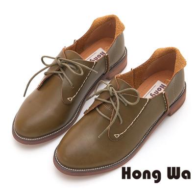 Hong Wa 率性綁帶牛皮牛津鞋 - 綠