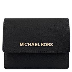 MICHAEL KORS JET SET防刮牛皮零錢/短夾(黑色)