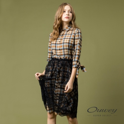 OUWEY歐薇 簡約格紋兩件式洋裝(咖)