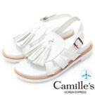 Camille's 韓國空運-正韓製-流蘇羅馬線條繫帶平底涼鞋-白色
