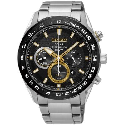 SEIKO精工 Criteria 太陽能計時手錶(SSC581P1)-黑x金圈/43mm