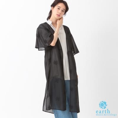 earth music 刺繡花朵長版外套/罩衫