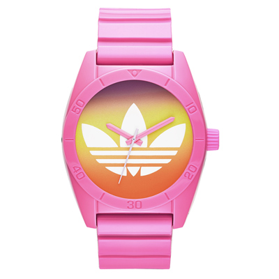 adidas 街潮繽紛三葉休閒腕錶-漸層x粉紅/40mm