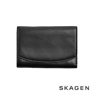 SKAGEN COMPACT 真皮掀蓋式大長夾-黑色