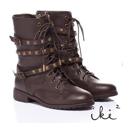 iki2甜美搖滾-龐克風金屬繞帶真皮標準短靴-焦糖棕