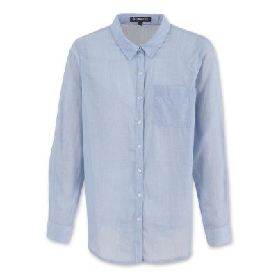 Hang Ten-女裝-簡約純棉薄質襯衫 - 藍