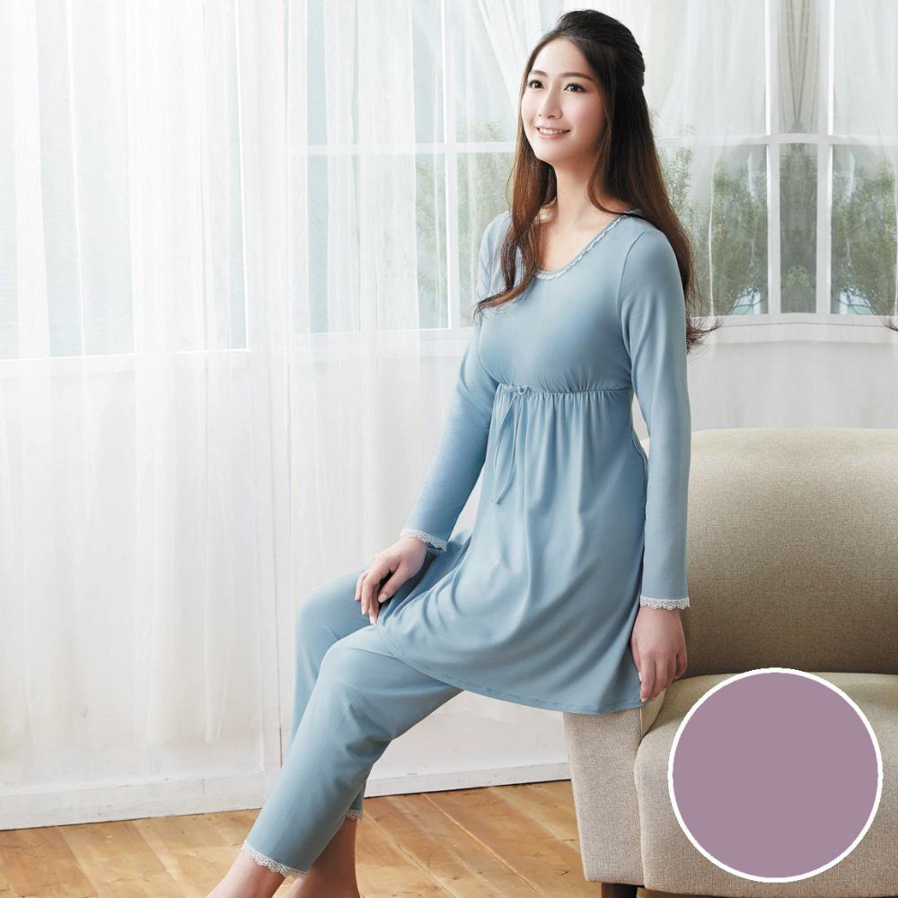 華歌爾 天絲棉針織 M-L 長袖圓領褲裝(紫)-睡眠研究所-家居服-舒適保暖-內襯罩杯