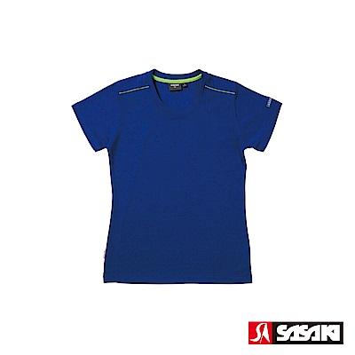 SASAKI 長效性吸濕排汗功能圓領短衫-女-義大利藍/豔綠