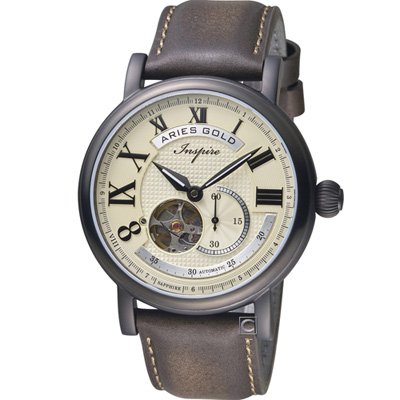Aries Gold 雅力士 領航者系列復古機械腕錶-米色x咖啡/44mm