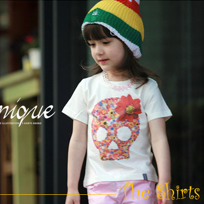 【The Shirts】花朵骷髏頭短袖T恤 (共二色)