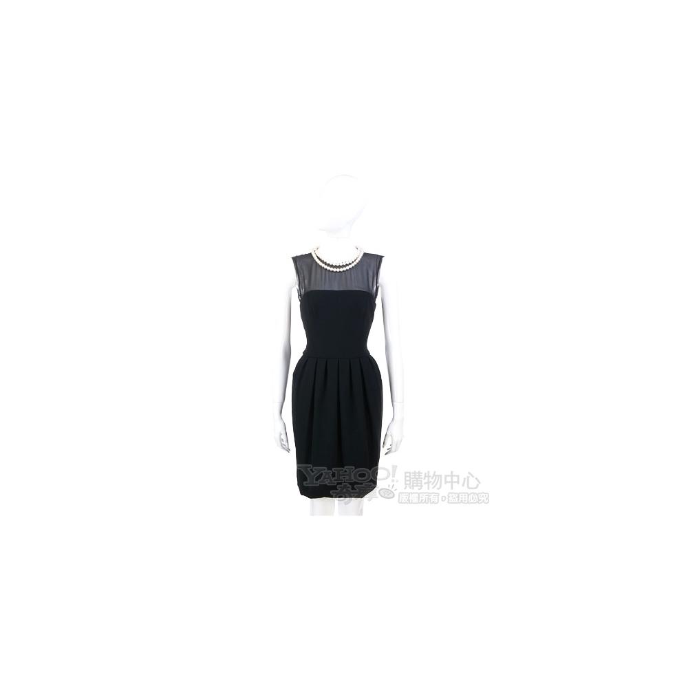 MOSCHINO 黑色珍珠項鍊綴飾拼接設計洋裝