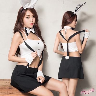 兔女郎 短版俏麗兔女郎角色扮演服六件組(白+黑F) Lorraine