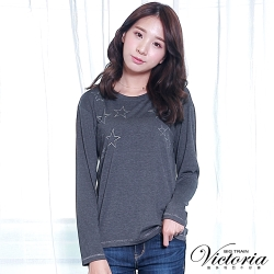 Victoria 星星銀蔥印落肩長袖T-女-深灰