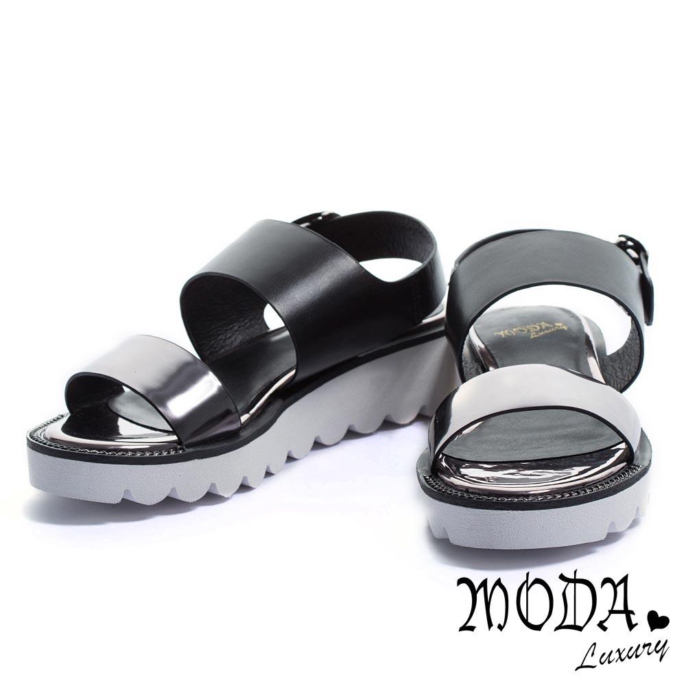 涼鞋 MODA Luxury 撞色潮流鏡面牛皮鋸齒厚底涼鞋-古銅