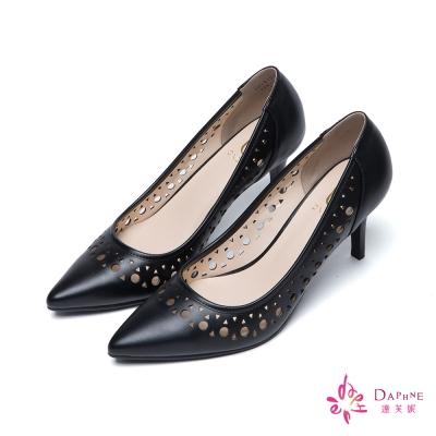 達芙妮x高圓圓 圓漾系列幾何鏤空高跟尖頭鞋-優美黑