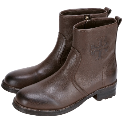 TORY BURCH Simone 仿舊浮刻Logo設計短靴(咖啡色)