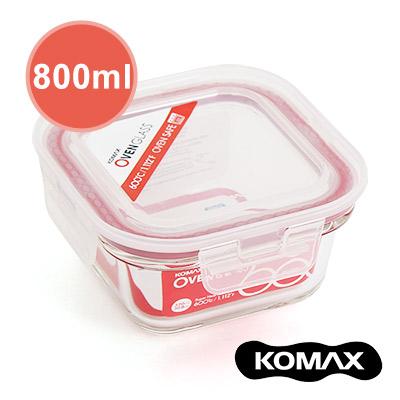 韓國KOMAX 耐熱玻璃保鮮盒-方型800ml