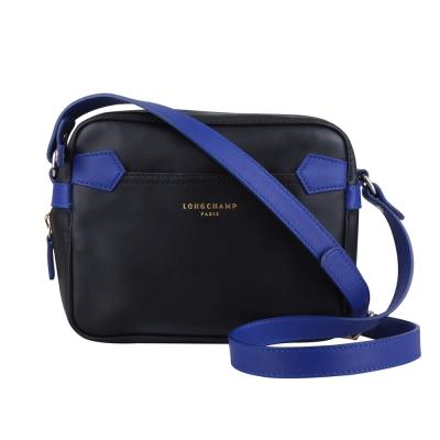 LONGCHAMP 素雅牛皮雙配色斜背包(藍)