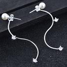 伊飾晶漾iSCrystal 迷人曲線 流線珍珠鋯石耳環