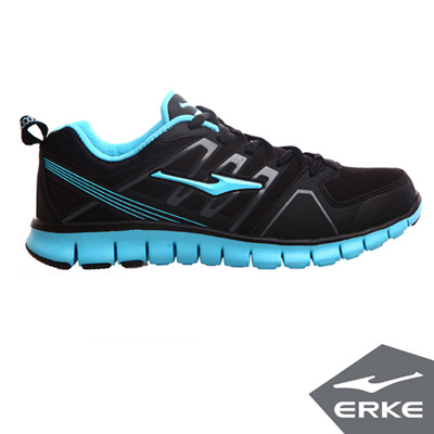 ERKE 鴻星爾克。男運動綜訓慢跑鞋-正黑/河藍