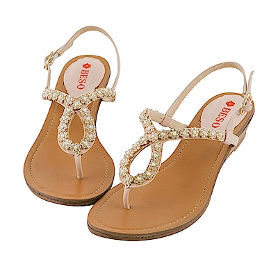 BESO 璀璨奢華 全真皮閃耀珍珠鑽花朵楔型涼鞋~粉