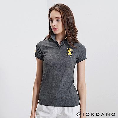 GIORDANO 女裝勝利獅王3D刺繡彈力萊卡POLO衫-32 雪花深灰