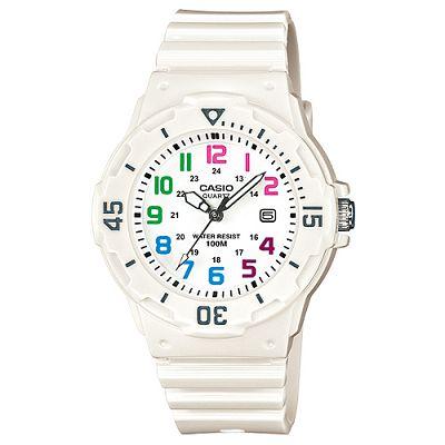 CASIO 潛水風運動休閒腕錶(LRW-200H-7B)-白x彩色時標/34mm