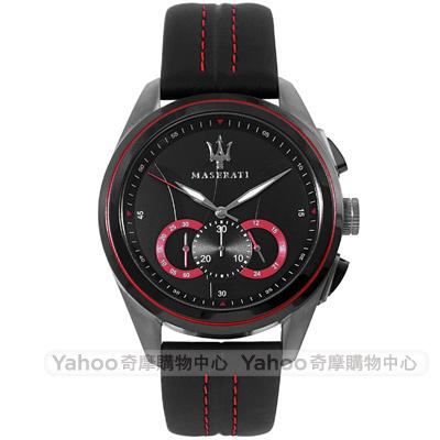 MASERATI 瑪莎拉蒂TRAGUARDO三環時尚計時手錶-黑/45mm