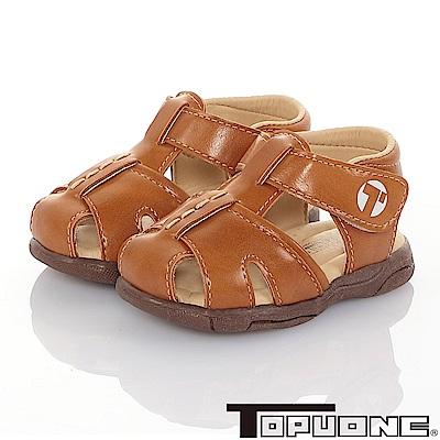 TOPUONE  傳統手工鞋高級超纖皮革防滑學步涼鞋童鞋-棕