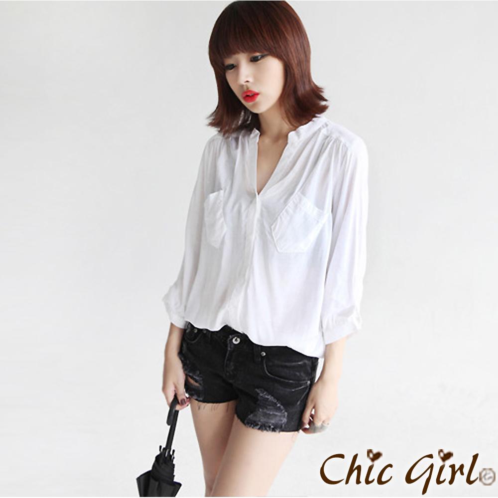 【Chic Girl】肩部抓皺V領開襟襯衫 (共四色)