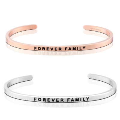 MANTRABAND FOREVER FAMILY 一輩子的家人 銀X玫瑰金 手環組