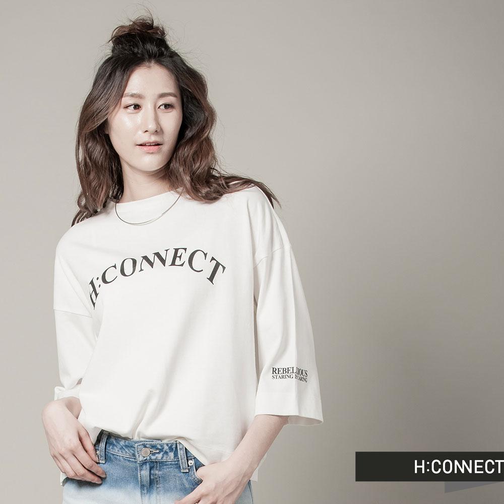 H:CONNECT 韓國品牌女裝 - CONNECT防曬UV七分袖棉T - 白