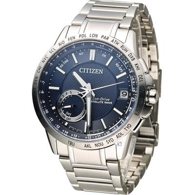 CITIZEN 星辰 光動能感光衛星紳士腕錶(CC3001-51L)-藍/44.5mm