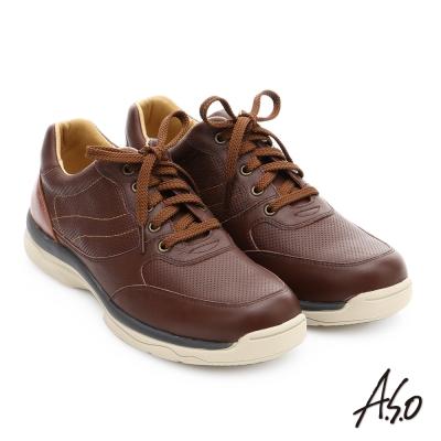 A.S.O 都會休閒 真皮超輕抗震綁帶休閒鞋 咖啡色