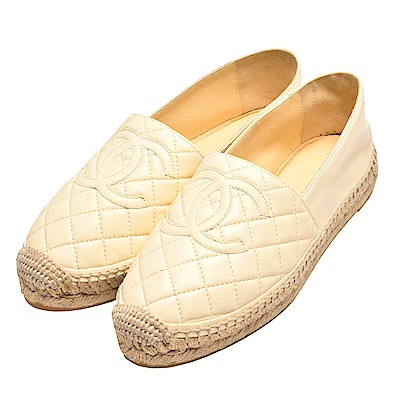 CHANEL 經典Espadrilles菱格車紋小香LOGO羊皮厚底鉛筆鞋(米白)