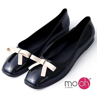 mo.oh-方頭蝴蝶結平底防水果凍娃娃鞋-黑色