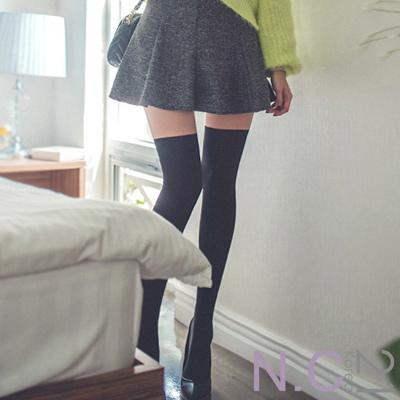 N.C21-韓製完美修身仿膝上襪絲褲襪 (黑色)