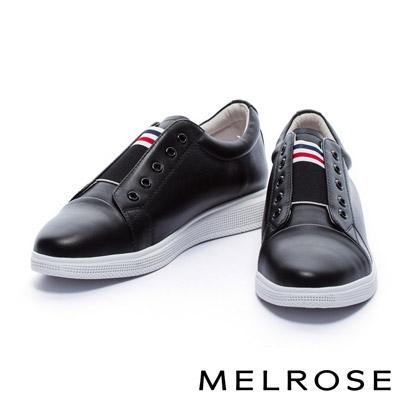 休閒鞋 MELROSE 簡約時尚配色鬆緊織帶設計全真皮休閒鞋-黑