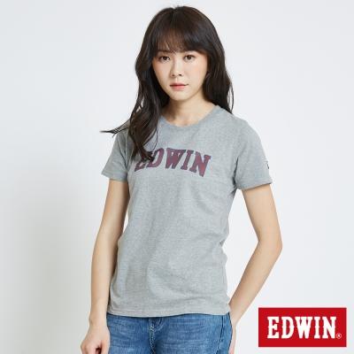 EDWIN 復古印花LOGOT恤-女-麻灰