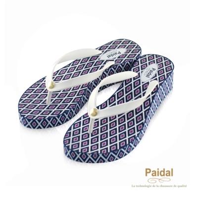 Paidal 復古菱格印花楔形鞋厚底鞋-白
