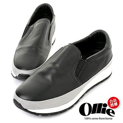 Ollie韓國空運-正韓製仿舊皮革拼接織帶增高鞋-黑