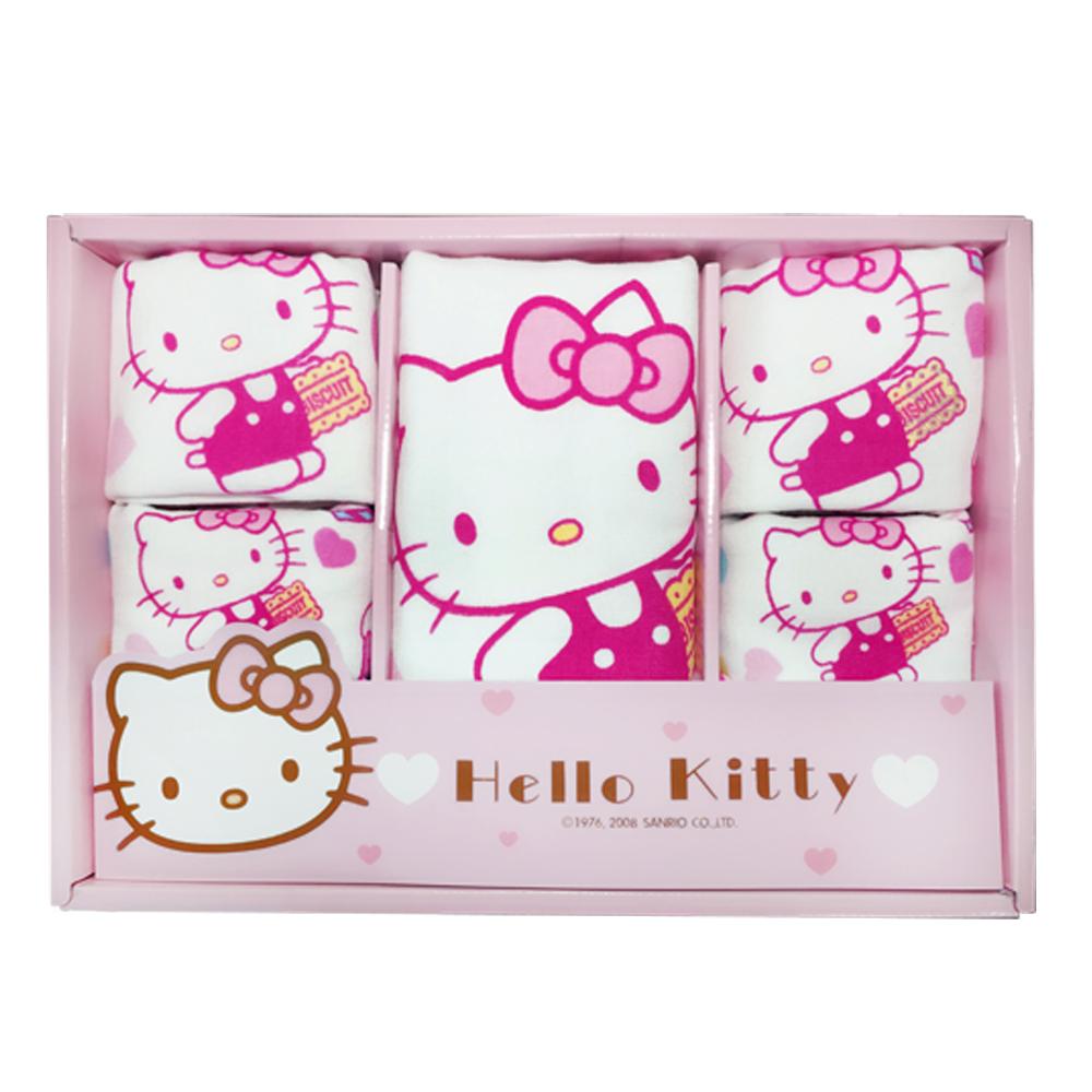 HELLO KITTY凱蒂貓點心時刻無捻紗禮盒(浴巾+2毛巾+2童巾+2方巾)