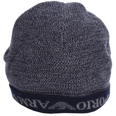 EMPORIO ARMAN 反摺Logo設計針織帽(深藍色)
