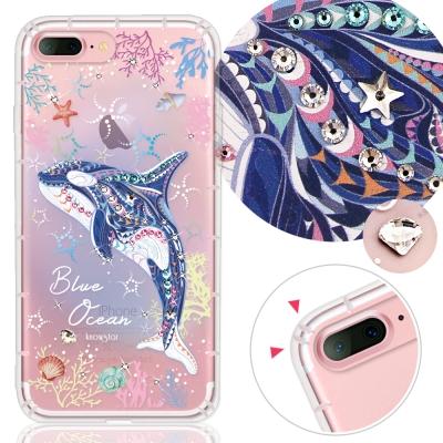 KnowStar APPLE iPhone7 Plus奧地利水晶彩繪防摔手機鑽殼-藍色海洋