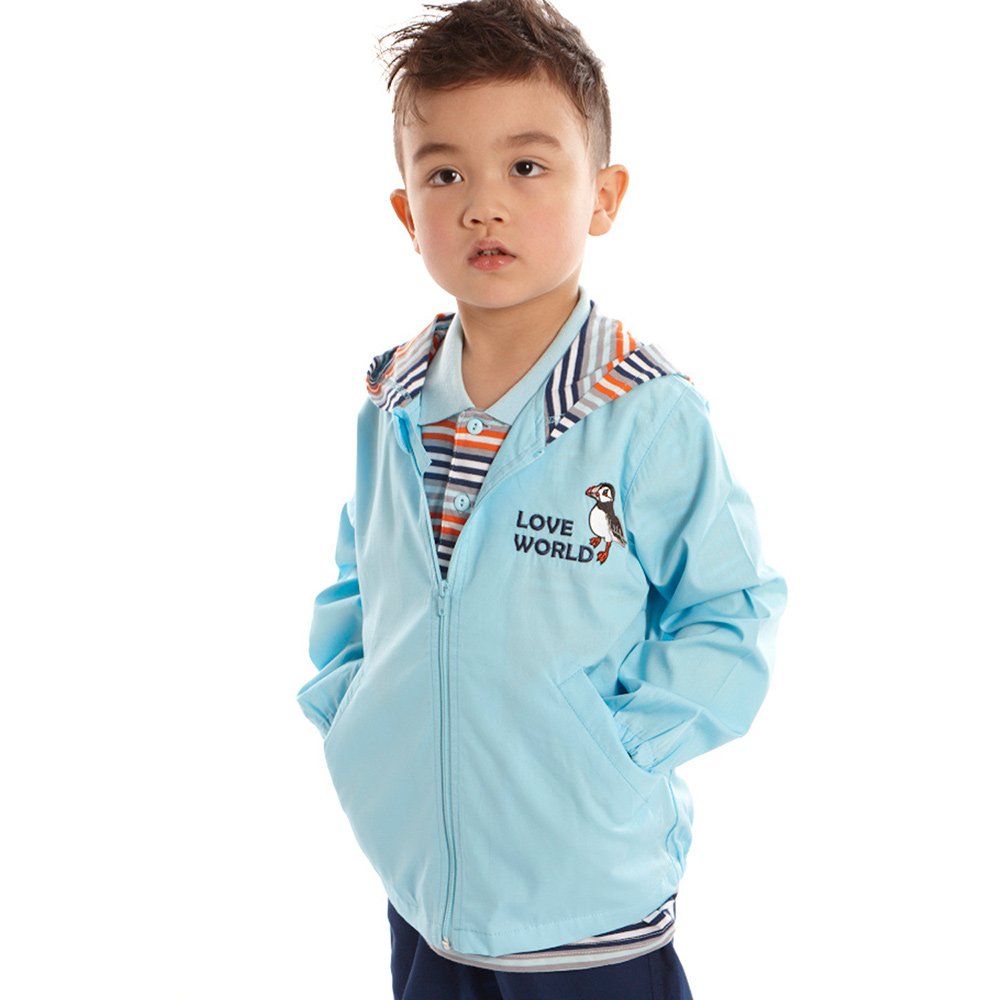 愛的世界 純棉連帽海鸚鵡薄長袖外套/1~3歲