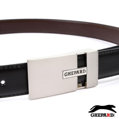 GHEPARD捷豹-經典長方LOGO鏤空頭配二層牛皮點扣皮帶-G430