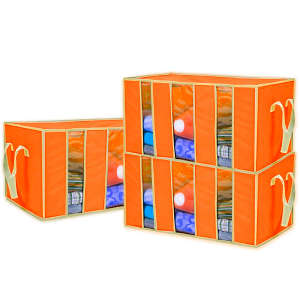 Lisan竹纖維3 視窗衣物整理箱(橘)-3個入