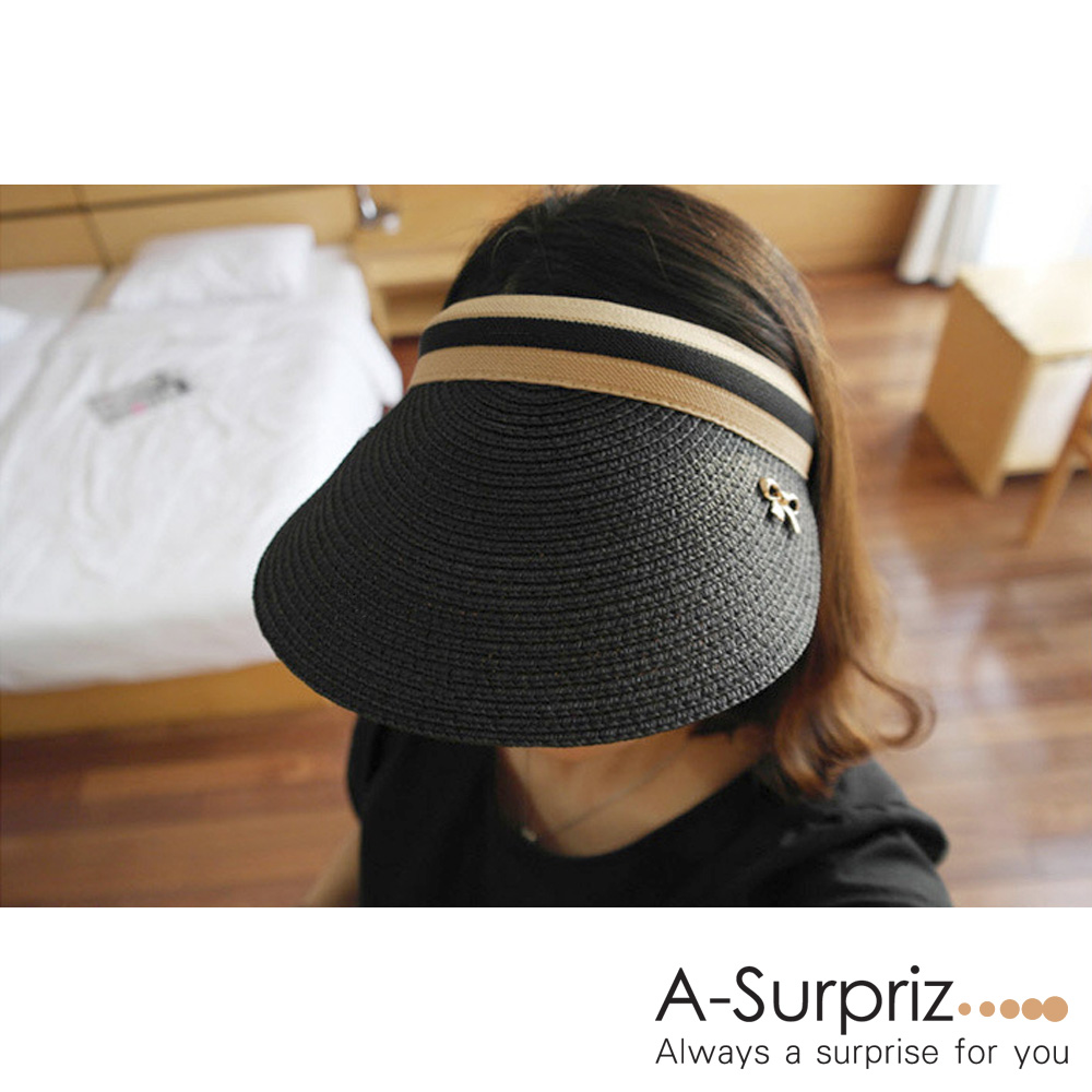 A-Surpriz 輕盈蝴蝶結草編空頂帽(黑)